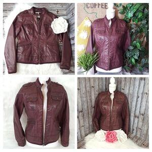 Sonoma moto jacket zip up 4 Pockets Burgundy Sz S